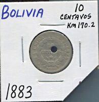 BOLIVIA - BEAUTIFUL HISTORICAL CUPRONICKEL 10 CENTAVOS, 1883 A, KM# 170.2