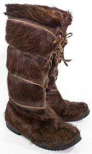 Datcha Fur Hair Boots Women's Size 6 France Brown Pichette
