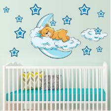 Cute Moon Stars Bear Wall Stickers For Baby Room Nursery Kids Wall Decal Decor