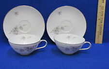 Sone China Cups & Saucers Set 2 Silver Maple Leaf on White Silver Trim 4 Pieces