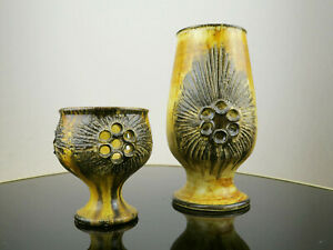 Jette Helleroe Studio-Keramik Vase und Windlicht, Dänemark, Hellerøe