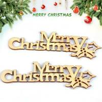 10Pcs Merry Christmas Letter Laser Cut Wooden Slice Xmas Tree Ornaments Decor