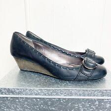 Coach Black Leather Wedge Heel w pewter hardware Size 7