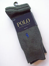 3 prs Mens Ralph Lauren Polo Cotton Blend Socks GREY GRAY shoe 7 8 9 10 11 12