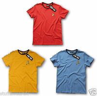 Official Star Trek Uniform T Shirt Command Gold Engineering Red Medical Blue NEW