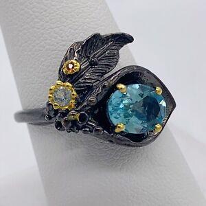Unique Topaz Ring 925 Sterling Silver Sky Blue Topaz Garnet Brutalist Size 8.75