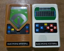 2015 Electronic Mattel Retro Football & Baseball Handheld Game lot USED