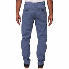 ETO Mens Designer Regular Fit Tapered Chinos Blue Pants Trousers All Waist Sizes