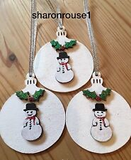 3 X Handmade Christmas Decorations Bauble Real Wood Snowman Holly Personalised