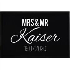 Fußmatte Mrs & Mr Nachname Name Datum personalisierbar Geschenk zur Hochzeit