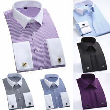 Collar CS340 Casual Luxury French Men's Business Striped Shirts Dress White Cuff