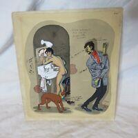 Vintage 1950s French Original Watercolor Gouache Signed Tabou & Co Tabou Et Cie