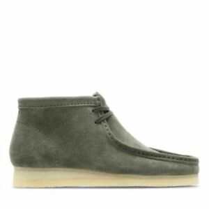 NEW 2018 MENS EXCLUSIVE ORIGINAL CLARKS OF ENGLAND OLIVE GREEN SUEDE WALLABEE