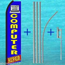 Computer Repair Swooper Flag + 15' Tall Pole + Mount Flutter Feather Banner Sign
