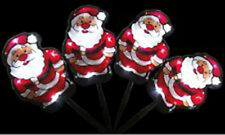 4 PCS 40 LED White Santa Solar Christmas Garden Outdoor Lights