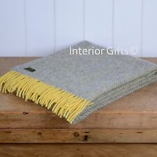 KNEE RUG / SMALL THROW Pure New Wool LEMON YELLOW & SILVER GREY Herringbone