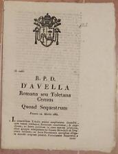 SENTENZA SACRA ROTA ROMA TOLETANA CONTE GIRARDELLI USTARIZIO TABELLA CENSO 1834