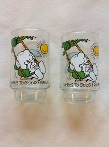 LOT OF 2 ZIGGY HERES TO GOOD FRIENDS GLASSES CUPS 7UP PROMOTIONAL 1977