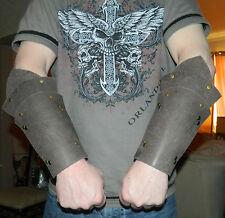 RIGID LEATHER ARM GUARDS  VAMBRACES LARP RE-ENACTMENT BLACK BROWN RED PURPLE