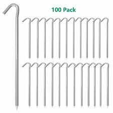 9 inch 100-Piece Galvanized Steel Tent Pegs-Garden Stakes, Silver Tent Stakes