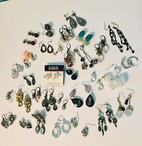Huge Assorted Vintage Now Sparkling Crystal Glass Pierced Earring Lot