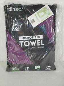 "Rainleaf Microfiber Towel.  Purple,  XX large. 40"" x 72"".   Beach, swim NEW"