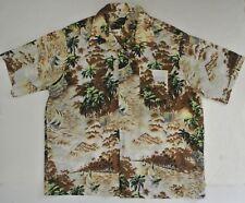 vtg 70s mens palm tree print HAWAIIAN shirt XL polyester