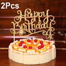 2Pcs Shining Happy Birthday Party Supplies Decoration Cake Topper Paper Decor
