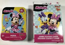 Disney Minnie Mouse- 24 Piece Travel Puzzle Tin. PLUS: Jumbo Playing Cards Age4+
