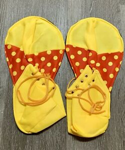 New Adult Clown Costume Shoes Yellow & Red Polka Dot Clown Shoes Fabric