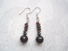 DEEP RED GARNET GEMSTONE & HEMATITE BEADED Stack SP Earrings Gift Bag Healing
