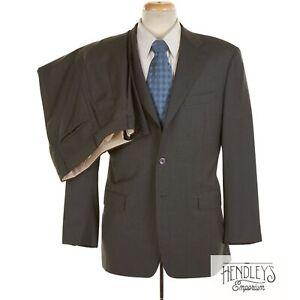 SARTORIA PARTENOPEA Suit 40 R SLIM Smoke Gray Hairline Stripe Wool 2-Pc ITALY