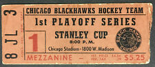 1962 Stanley Cup 1st Playoff Series Game 1 Ticket Chicago Blackhawks v Canadiens