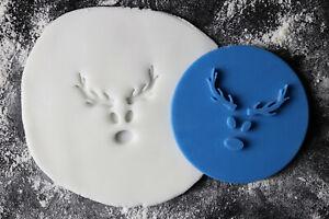 Reindeer Face Cookie Stamp, Christmas Cookie Embosser Stamp, Fonadant Embosser