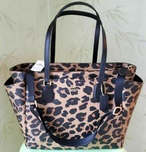 COACH BABY DIAPER TOTE BAG WITH LEOPARD PRINT:NWT LEOPARD PRINT F87755
