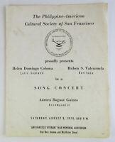 Vintage 1970 Philippine-American Cultural Society San Francisco Concert Program