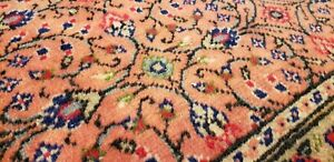 Stunning Antique 1930-1940's Wool Pile, Rose Pink Color Floral Hereke Rug 5x7ft