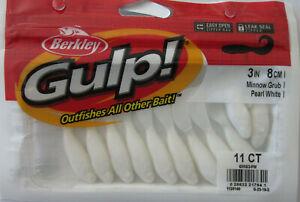 "BERKLEY GULP!  3"" Minnow Grub (11/Ct Pack) - Pearl White"