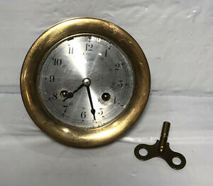 Vintage Brass Schatz Ships Bell 8 Day Clock 7 Jewels Germany - with Key