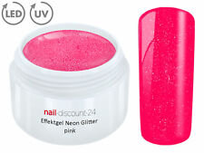 UV Farbgel Neon Glitter Pink 5ml Effekt French Color Gel Modellage Nailart Nails