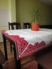 Beautiful Vintage White Linen Handmade Tablecloth with Lovely Red Embroidery