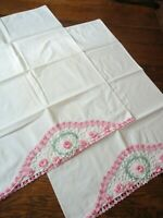 2 Pillow Cases Vintage 1940's Muslin White Pink Roses Hand Crochet Edge Cotton