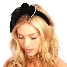 Black Velvet Flapper Bow Headband Great Gatsby Inspired Art Deco Headpiece