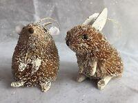 Glitter Bristle Animal Rabbit Mouse Bunny Gisela Graham Christmas Decoration