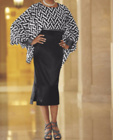 Black White Ashro Formal Church Rhinestone Embellished Elektra Dress Size 6 8 10