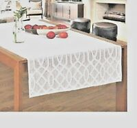 "New Jacquard Table Runner White Shabby Chic Vintage Country 24"" x 55"""