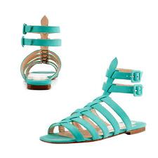 Christian Louboutin Azul Neronna Gladiador Nubuck Sandalias de Cuero Zapato Bajo