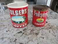 2 Vintage FOLGERS COFFEE CAN Mountain and Ship scene  Tin Can