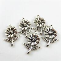 Antiqued Silver Zinc Alloy Sunflower Shaped Charms Pendant DIY Crafts 50pcs/lot