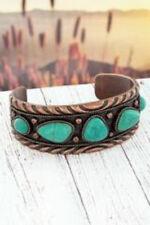Cuff Bracelet Turquoise Stone Western Burnished Coppertone and Geometric